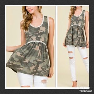Camouflage Babydoll Top
